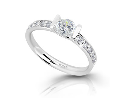 Stříbrný zásnubní prsten se zirkony M11092