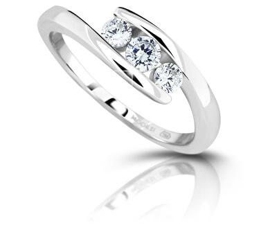 Stříbrný prsten se zirkony M13075