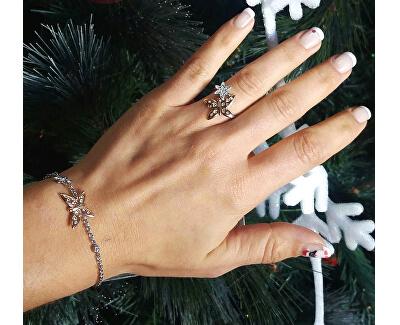 Ocelový bicolor prsten s motýlkem Natura SAHL06