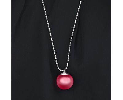 Ocelový náhrdelník s růžovým přívěskem Boule SALY15 (řetízek, přívěsek)