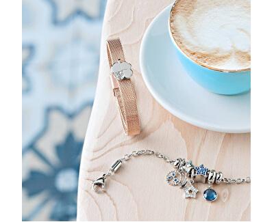 Pandantiv din inox cu cristal albastru Picături SCZ918