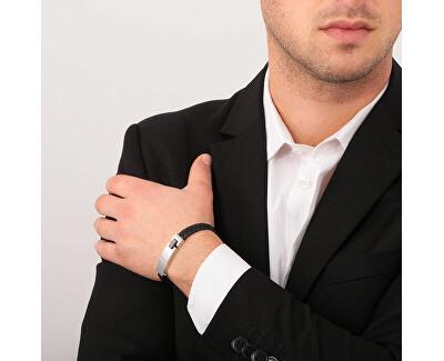Pánský černý kožený náramek Moody SQH20