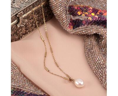 Pozlacený ocelový náhrdelník s pravou perlou Oriente SARI03