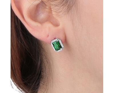 Stříbrné náušnice se zelenými krystaly Tesori SAIW57