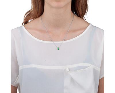 Stříbrný náhrdelník se zeleným krystalem Tesori SAIW55
