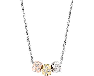 Ocelový tricolor náhrdelník Drops Jewel SCZ335