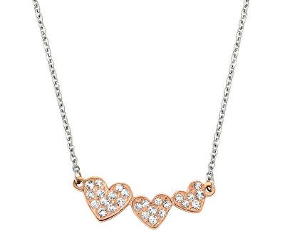 Morellato Ocelový bicolor náhrdelník se srdíčky I-Love SAEU02
