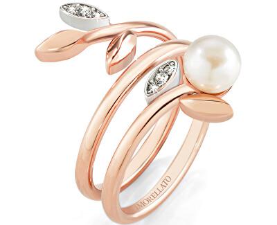 Ocelový bicolor prsten s perlou Gioia SAER15