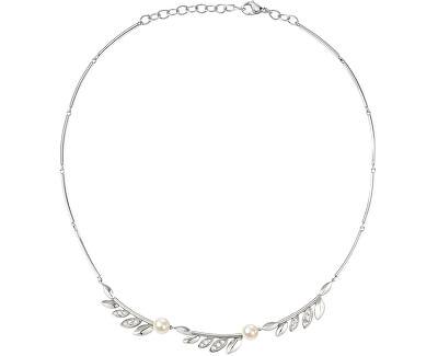 Ocelový náhrdelník s perlami Gioia SAER16