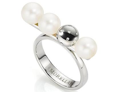 Morellato Ocelový prsten s perlami Lunae SADX13