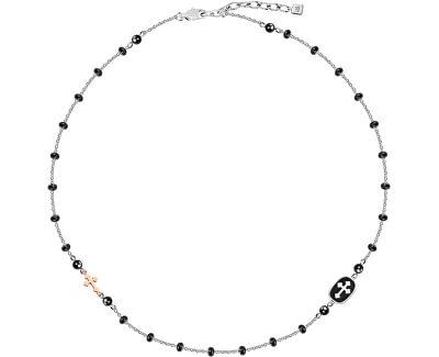 Férfi acél nyaklánc kereszttel Istennel SANF15