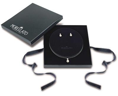 Stříbrná sada šperků s perlami Perla Essenziale SANH09 (náušnice, řetízek, přívěsek)