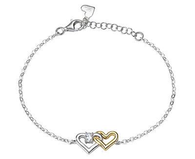 Stříbrný náramek Spojené srdce Cuori SAIV27