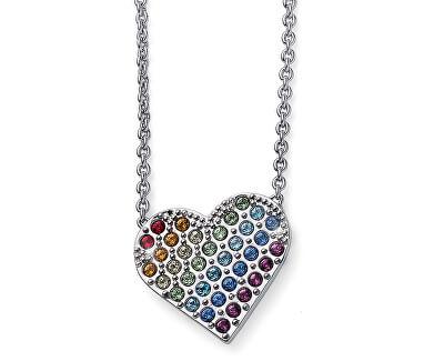 Náhrdelník s pestrobarevným srdíčkem Rainbow Love 12037