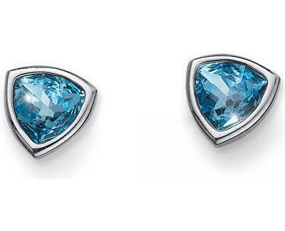 Náušnice s modrými kryštálmi Ocean Trilli 22635 202