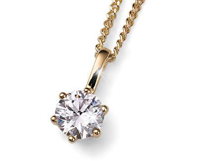 Pozlacený stříbrný náhrdelník s krystalem Brilliance 61125G 001 (řetízek, přívěsek)