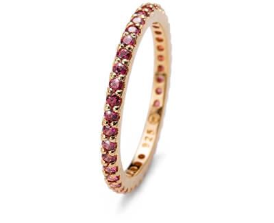 Oliver Weber Pozlacený stříbrný prsten s červenými krystaly Jolie 63225G RED