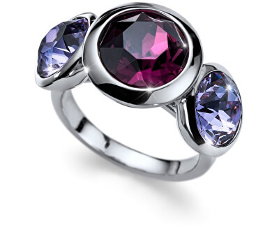 Oliver Weber Prsten s fialovými krystaly Working Every 41129 204