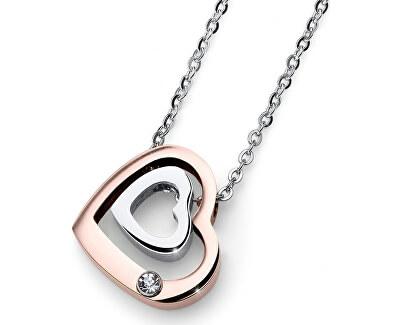 Romantický bicolor náhrdelník Doubleheart 11858
