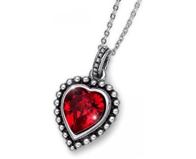 Romantický náhrdelník s červeným kryštálom Beach Antique Heart 11731 227