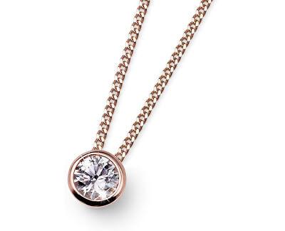 Růžově pozlacený stříbrný náhrdelník Solitaire 61118RG (řetízek, přívěsek)