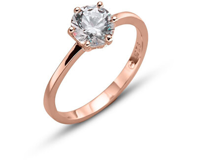 Růžově pozlacený stříbrný prsten Brilliance 63222RG