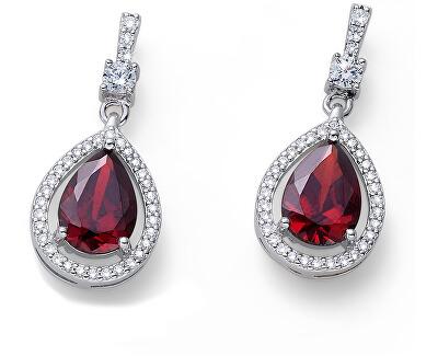 Stříbrné náušnice s červenými krystaly State 62092 RED