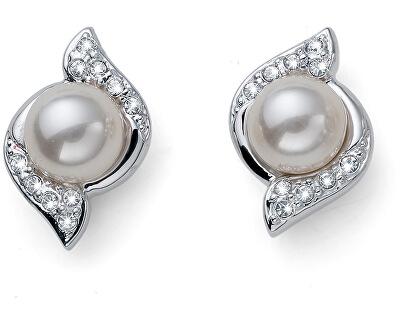 Třpytivé náušnice s perličkami Bun 22832