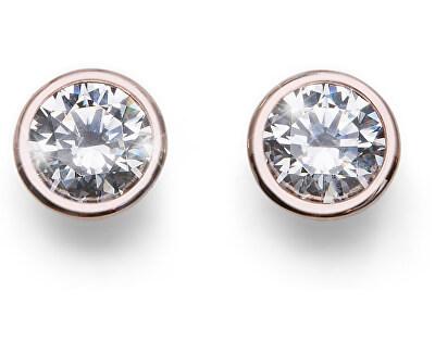 Růžově pozlacené stříbrné náušnice s krystaly Basic 62072RG