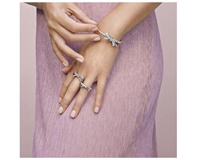 Oslnivý stříbrný prsten s mašličkou 197232CZ