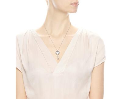 Stříbrný náhrdelník Klíč k srdci 396581CZ-80 (řetízek, přívěsek)