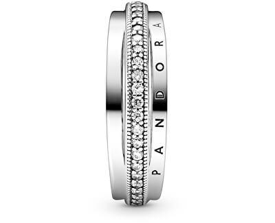 Nadčasový stříbrný prsten Triple Band Pavé 199040C01