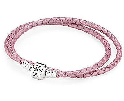 Pandora Dvojitý růžový kožený náramek 590705CMP-D2