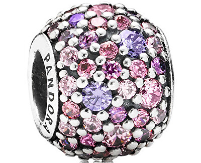 Korálek s fialovými a růžovými krystaly 791261ACZMX