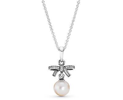 Luxusní stříbrný náhrdelník s perličkou 390380P-70