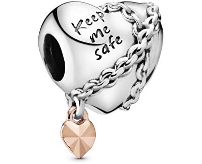Stříbrný korálek Srdce s řetízkem 788344