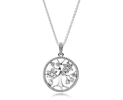 Stříbrný náhrdelník Rodokmen 390384CZ-80 (řetízek, přívěsek)