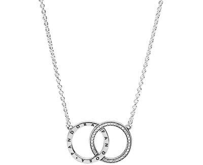 Stříbrný náhrdelník s propojenými kruhy 396235CZ-45