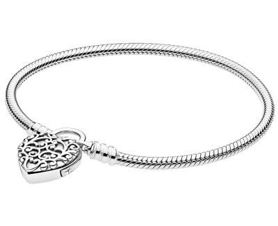Stříbrný náramek Královské srdce 597602