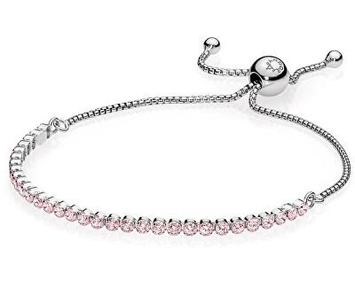 Pandora Stříbrný náramek s růžovými krystaly 590524PCZ