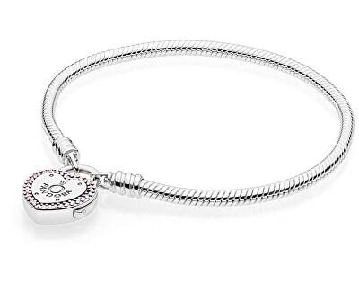 Stříbrný náramek se zámečkem ve tvaru srdce 596586fpc - SLEVA