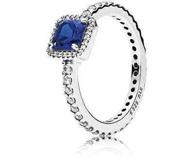 Trblietavý strieborný prsteň s modrým kryštálom 190947NBT