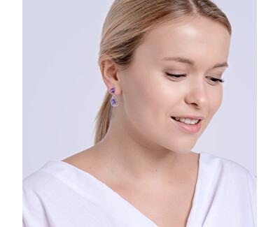 Elegantní stříbrné náušnice Lyra Violet 5261 56