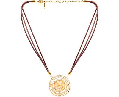 Kožený náhrdelník se zlatavým křišťálem Mays 7357Y50