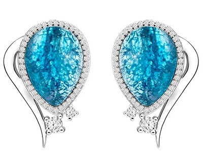 Preciosa Elegantní náušnice Ines Matrix modré 6111 29