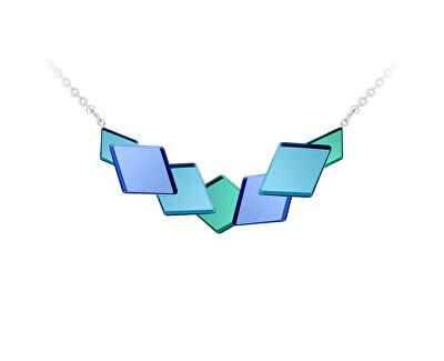 Netradiční ocelový náhrdelník Fragmentum s modrým kříšťálem 7374 67