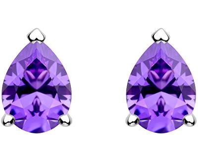 Něžné stříbrné náušnice Lyra Violet 5265 56