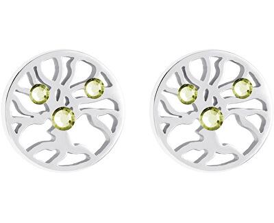 Preciosa Oceľové náušnice s kryštálmi Olive 7298 53