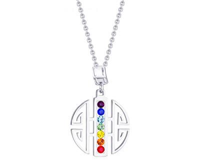 Preciosa Ocelový náhrdelník s barevnými krystaly Keren 7296 70