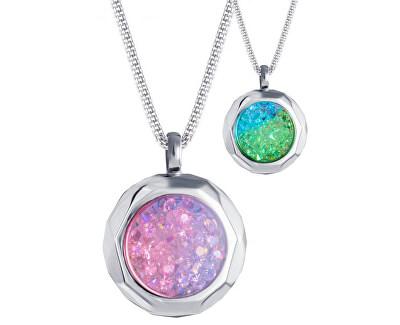 Colier din oțel cu cristale 7313 Color Duo 70